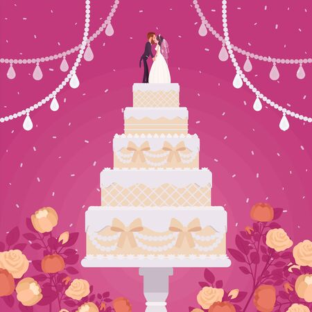 Wedding cake for ceremony, bride, groom figurines, cream, frosting, special day party creation, decoration for a perfect gift for guests to enjoy grand dessert. Vector flat style cartoon illustration