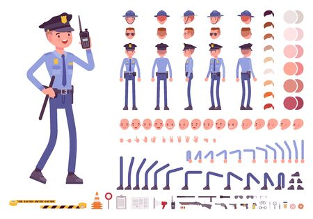 Set per la creazione del personaggio del poliziotto. Ufficiale a figura intera, diversi punti di vista, emozioni, gesti, strumenti e attributi professionali. Costruisci il tuo design. Illustrazione infografica in stile piatto dei cartoni animati Vettoriali
