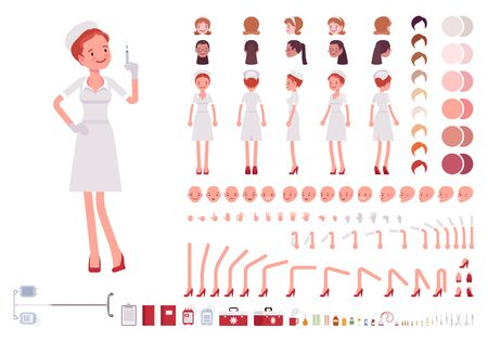 Nurse in retro uniform character creation set. Old fashion hospital wear, full length, different views, emotions, gestures. Build your own design. Cartoon flat-style infographic illustration