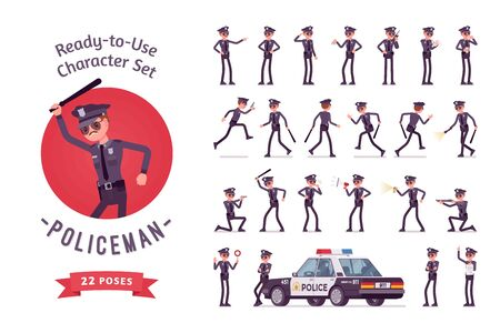 Policeman character ready-to-use character set. Young male officer in uniform on duty, city patrol on official car, street guard, full length, different views, gestures, emotions, front and rear view