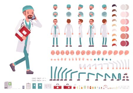 Male doctor in white uniform character creation set. Full length, different views, emotions, gestures. Medicine, healthcare concept. Build your own design. Cartoon flat-style infographic illustration