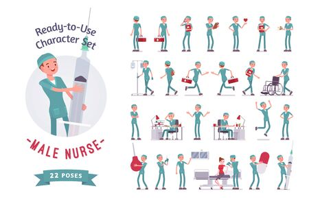 Male nurse ready-to-use character set. Young man in hospital uniform on duty in clinic, care-giver full length, different views, gestures, emotions, front and rear view. Medicine, healthcare concept Ilustracja