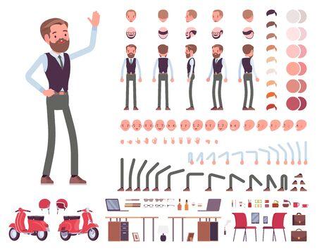 Hübscher männlicher Büroangestellter Charaktererstellungssatz. In voller Länge, verschiedene Ansichten, Emotionen, Gesten. Business-Casual-Mode. Erstellen Sie Ihr eigenes Design. Infografik im flachen Stil der Karikatur Vektorgrafik