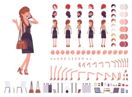 Vrij vrouwelijke kantoormedewerker creatie tekenset. Volledige lengte, verschillende opvattingen, emoties gebaren. Zakelijke casual damesmode. Bouw je eigen ontwerp. Cartoon flat-stijl infographic illustratie