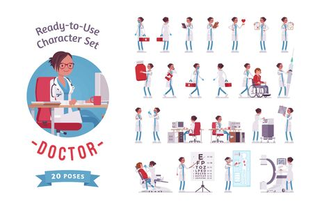 Female doctor ready-to-use character set. Woman in hospital uniform busy with clinic work, skilled in practice, full length, different views, gestures, emotions, front, rear view. Medicine, healthcare