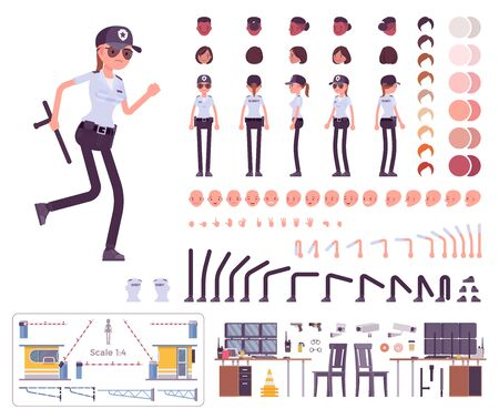 Female security guard character creation set. Uniformed officer, protective agent. Full length, different views, emotions, gestures. Build your own design. Cartoon flat style infographic illustration