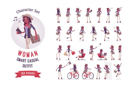 Black attractive smart casual woman wearing hat and glasses ready-to-use character set. Fashionably elegant girl with messenger bag. Full length, different views, gestures, emotions, front, rear view