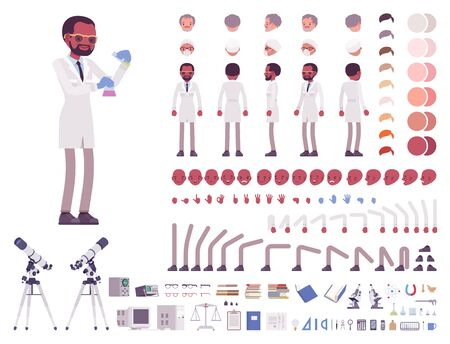 Scientist character creation set. Black man in science laboratory with equipment. Full length, different views, emotions, gestures. Build your own design. Cartoon flat style infographic illustration 向量圖像