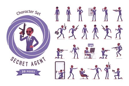 Secret agent black man, gentleman spy of intelligence service ready-to-use character set. Collects information on corporate espionage. Full length, different views, gestures, emotions, front and rear