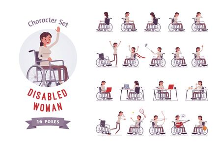 Female young special wheelchair user ready-to-use character set. Disease, injury or accident result. Disability and medical social policy concept. Full length, different views, gestures, emotions