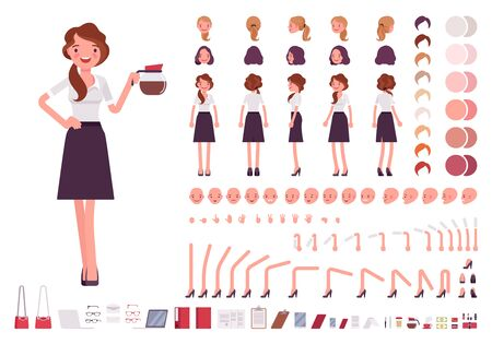 Young secretary character creation set. Lady works in office with correspondence. Full length, different views, emotions, gestures. Build your own design. Cartoon flat style infographic illustration Çizim