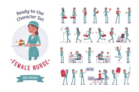 Female nurse ready-to-use character set. Young woman in hospital uniform employed in clinic at work, full length, different views, gestures, emotions, front, rear view. Medicine, healthcare concept Ilustracja
