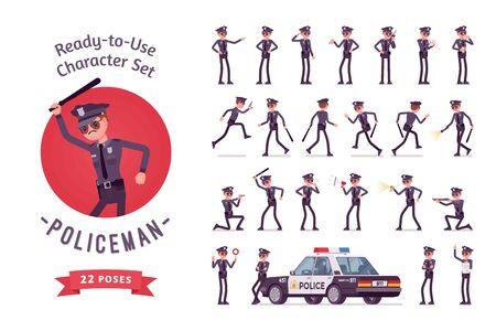 Jeu de caractères prêt à l'emploi pour le personnage policier. Jeune officier masculin en uniforme en service, patrouille de la ville en voiture officielle, garde de rue, pleine longueur, différentes vues, gestes, émotions, vue avant et arrière