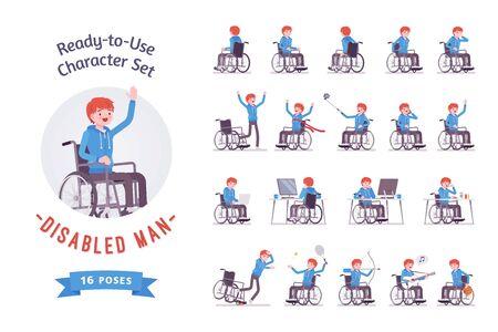 Jeu de caractères prêt à l'emploi pour jeune utilisateur de fauteuil roulant masculin. Diverses poses, émotions, vie particulière, problèmes de santé. Pleine longueur, avant, vue arrière isolée, fond blanc. Handicap et politique sociale