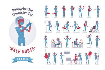 Male nurse ready-to-use character set. Young worker in hospital uniform busy with clinic procedures, full length, different views, gestures, emotions, front, rear view. Emergency services job concept