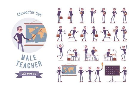 Male teacher ready-to-use character set. School, universirty or college worker, at lesson for students. Professional education and learning concept. Full length, different views, gestures, emotions Иллюстрация