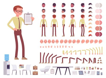 Male clerk character creation set. Man on administrative work office busy employee. Full length, different views, emotions, gestures. Build your own design. Cartoon flat style infographic illustration