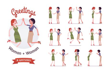 Female friends greeting set. Women in polite, formal, friendly gestures, respect, agreement pose. Business manners, etiquette concept. Vector flat style cartoon illustration isolated, white background  イラスト・ベクター素材