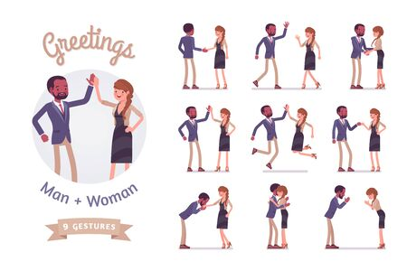 Male, female multicultural greeting. Black man, white woman in polite, formal, friendly gestures. Business manners, etiquette concept. Vector flat style cartoon illustration isolated, white background
