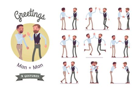 Male friends greeting set. Men in polite, formal and friendly gestures, respect, agreement pose. Business manners, etiquette concept. Vector flat style cartoon illustration isolated, white background