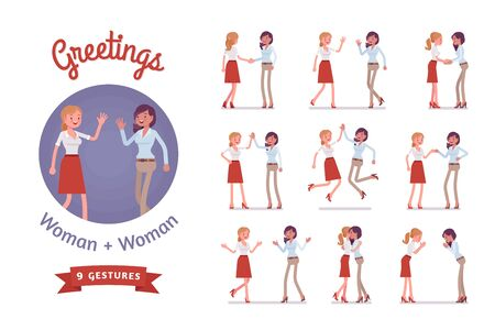Female friends greeting set. Women in polite, formal, friendly gestures, respect, agreement pose. Business manners, etiquette concept. Vector flat style cartoon illustration isolated, white background Ilustração