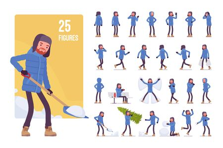 Young man in a blue down jacket, wearing winter warm clothes, classic yellow snow boots and hat, cold season outdoor activity character set. Full length, different views, gestures, emotions and poses