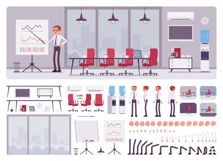 Meeting room in the business center office and male manager creation kit, conference hall set with furniture, constructor elements to build your own design. Cartoon flat style infographic illustration