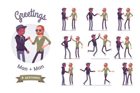Male friends greeting set. Men, black and red-haired, handshake, high five gesture, showing respect. Social manners, etiquette. Vector flat style cartoon illustration isolated on white background