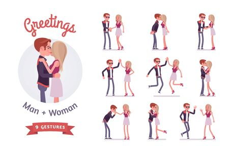 Male and female friends greeting set. Woman and man in a love kiss, clasping hands, waving. Social manners and etiquette concept. Vector flat style cartoon illustration isolated on white background