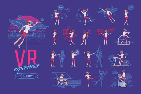 VR female user ready-to-use character set. Various poses, emotions, interactive technology and fun. Full length, front, rear view isolated, blue background. Virtual reality and entertainment concept Иллюстрация
