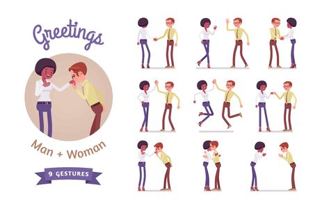 Male, female multicultural greeting. Black woman, white man in polite, formal, friendly gestures. Business manners, etiquette concept. Vector flat style cartoon illustration isolated, white background