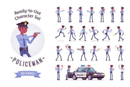Policeman ready-to-use character set. Black male officer on duty, arresting with gun, police car service, traffic control on street, full length, different views, gestures, emotions, front and rear