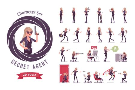 Secret agent woman, lady spy of intelligence service, espionage, collect political data, business information, ready-to-use character set. Full length, different views, gestures, emotions, front, rear