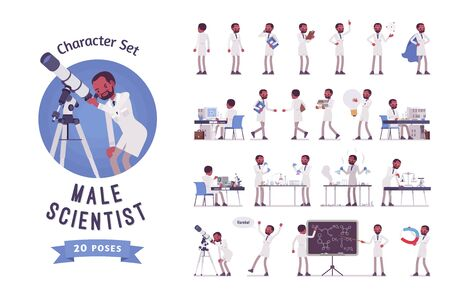 Male black scientist ready-to-use character set. Expert of physical or natural laboratory working in white coat. Science and technology concept. Full length, different views, gestures, emotions Иллюстрация