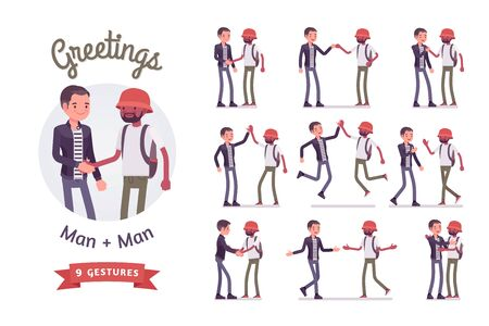 Male friends greeting set. Men, black and white, handshake, high five gesture, showing agreement. Social manners and etiquette. Vector flat style cartoon illustration isolated on white background