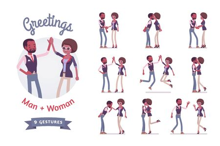 Male and female black friends greeting set. Woman and man in friendship clasping hands, waving. Social manners and etiquette concept. Vector flat style cartoon illustration isolated, white background