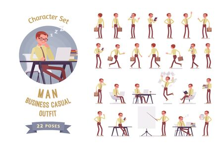 Male clerk in the office ready-to-use character set. Young man in routine administrative duties with phone, tablet, receive incoming business calls. Full length, different views, gestures, emotions