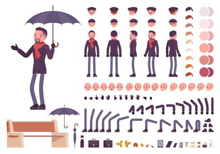 Stylish middle aged man with umbrella in autumn clothes character creation set. Full length, different views, emotions, gestures. Build your own design. Cartoon flat style infographic illustration Иллюстрация