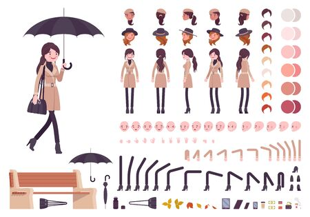 Stylish woman with umbrella, autumn beige coat character creation set, fall outfit. Full length, different views, emotions, gestures. Build your own design. Cartoon flat style infographic illustration