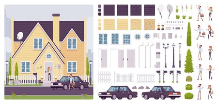 House creation kit with classic suburban architecture, happy home owners, full exterior set, different wall, roof material texture to build your own design. Cartoon flat style infographic illustration