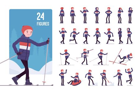 Young man in a striped down jacket character set. Guy wearing warm clothes enjoys winter sport and outdoor activity. Men snow season outfit. Full length, different views, gestures, emotions and poses