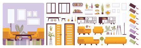 Wnętrze salonu, zestaw do stworzenia domu lub biura, zestaw wypoczynkowy z jasnożółtymi meblami, elementy konstrukcyjne do zbudowania własnego projektu. Ilustracja kreskówka płaski infografika i paleta kolorów