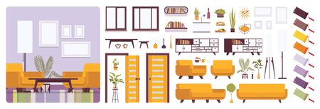 Wohnzimmereinrichtung, Heim- oder Bürokreationsset, Lounge-Set mit leuchtend gelben Möbeln, Konstruktorelemente zum Erstellen Ihres eigenen Designs. Infografik-Illustration und Farbpalette im flachen Stil der Karikatur