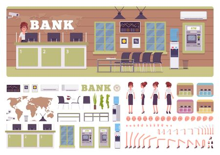 Bank office room and female manager creation kit, worker in financial business center set with furniture, constructor elements to build own interior design. Cartoon flat style infographic illustration