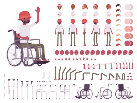 Male black wheelchair user character creation set. Disability, medical social help. Full length, different views, emotions, gestures. Build your own design. Cartoon flat style infographic illustration