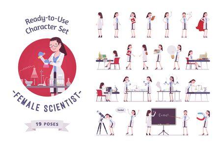 Wissenschaftlerin gebrauchsfertiger Zeichensatz. Experte für physikalisches oder natürliches Labor im weißen Kittel, volle Länge, verschiedene Ansichten, Gesten, Emotionen, Vorder- und Rückansicht. Wissenschafts- und Technologiekonzept Vektorgrafik
