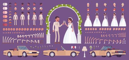 Bride and groom, Latin American pair on a wedding ceremony, creation kit, traditional celebration set, decor constructor elements to build your own design. Cartoon flat style infographic illustration Иллюстрация