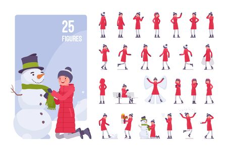 Young woman in a red down jacket, wearing winter warm clothes, classic snow boots and a hat, cold season and outdoor activity character set. Full length, different views, gestures, emotions and poses