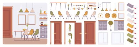 Dining room interior, modern home creation kit, kitchen set with furniture, different constructor elements to build own design and solutions. Cartoon flat style infographic illustration, color palette