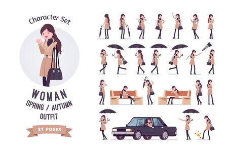 Stylish attractive woman with umbrella, wearing autumn, spring clothes, classic coat, accessories ready-to-use character set. Female fall outfits. Full length, different views, gestures, emotions